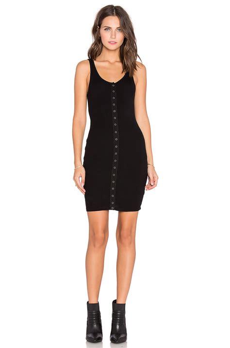 Dress Denim Spandex lyst bobi cozy spandex button front mini dress in black