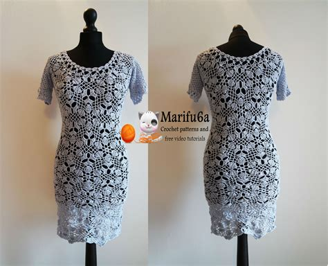 dress pattern youtube how to crochet grey dress with flower motifs tutorial