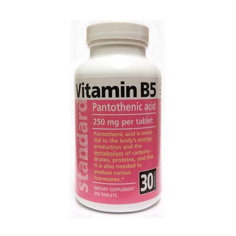 vitamins and minerlas to stop 5 ar standard vitamins vitamin b5 pantothenic acid 250 mg 250