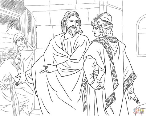jesus and the rich young man coloring online super coloring