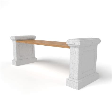 concrete garden bench legs bench with rectangle concrete legs free 3d model max obj