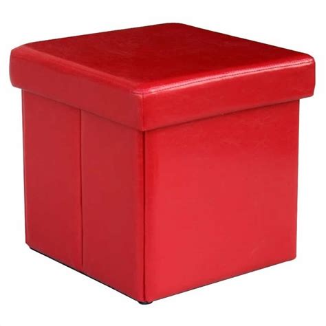 red storage ottoman cube modus urban seating folding storage cube red leatherette