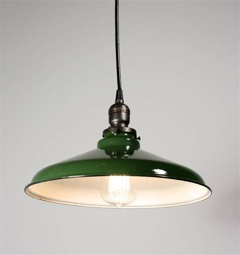 Industrial Pendant Light Shade Antique Industrial Pendant Light With Green Enamel Porcelain Shade 12 189 Diameter Nc1074 Rw