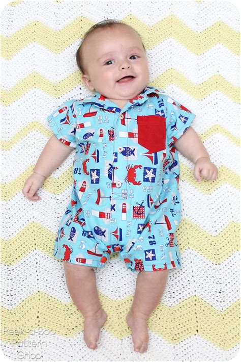 jumpsuit pattern for baby button up baby romper free pattern peek a boo pages