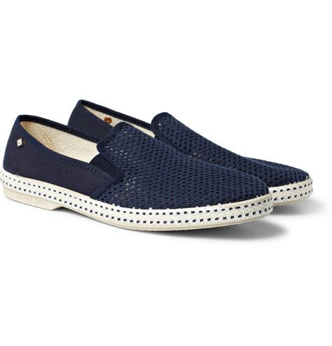 cotton shoes rivieras cotton mesh slipon shoes in blue for lyst