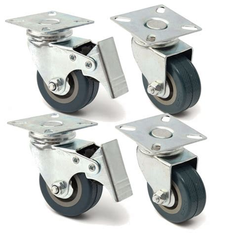 4pcs Roda 50mm 4 Wheels 50mm 4pcs 50mm heavy duty rubber swivel castor wheels trolley caster brake alex nld