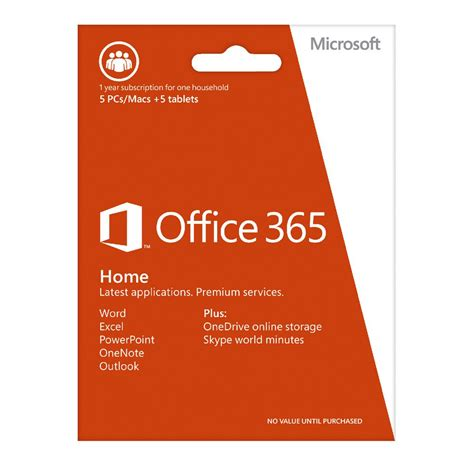 Office 365 Subscription Microsoft Office 365 Home 5 Users 1 Year Subscription