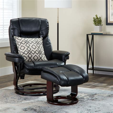 leather swivel recliner and ottoman with wood base ebay