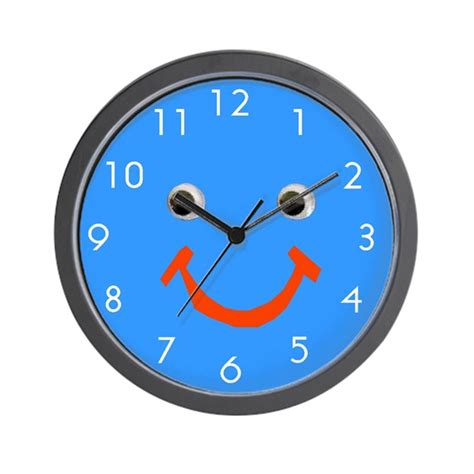 cool clock faces cool blue smiley face wall clock by artplaygifts