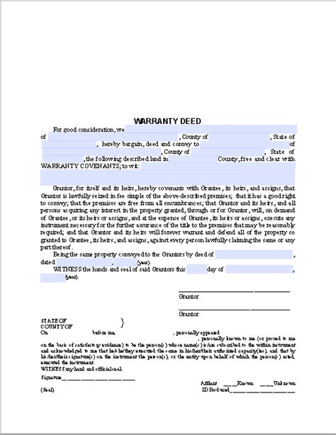 warranty deed form  fillable  forms