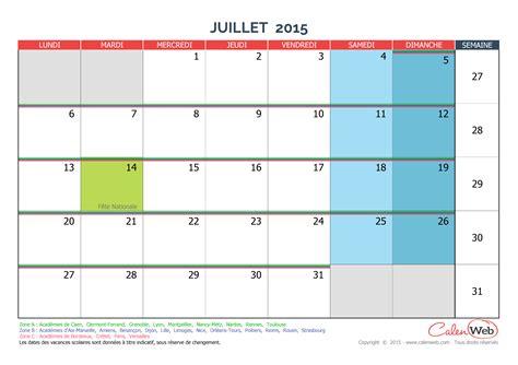 Calendrier 4 Juillet 2015 Calendrier Mensuel Mois De Juillet 2015 Avec Jours