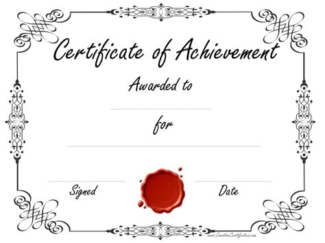 Free Customizable Certificate Of Achievement Customizable Certificate Templates Free