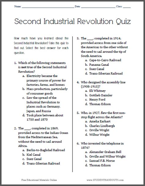 printable organization quiz for students this printable quiz covers the second industrial