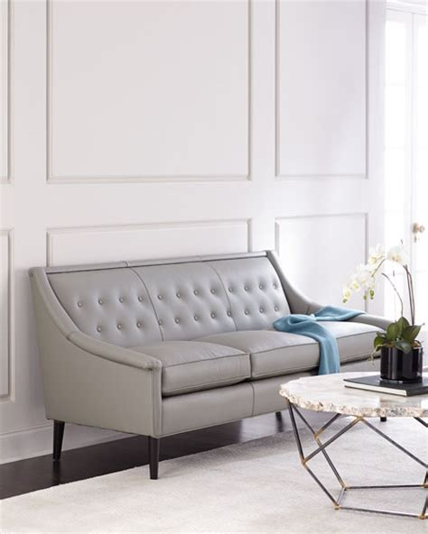tufted back leather sofa gerald tufted back leather sofa