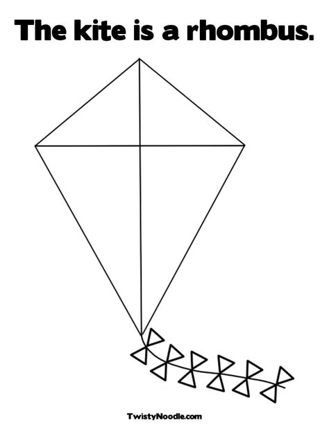 printable kite shapes kite coloring pages for preschoolers rhombus kites http