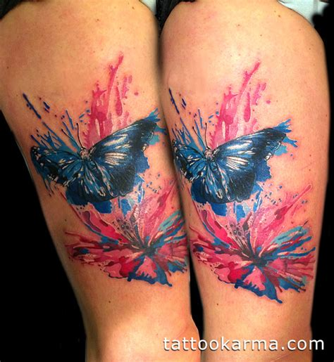 watercolor butterfly and hibiscus flower tattoo