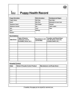pet health record template puppy health record fill printable fillable