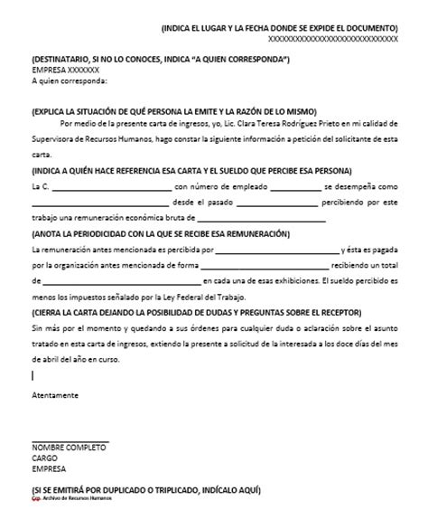 carta que haga constar algo carta de ingresos gt formatos y ejemplos milformatos com