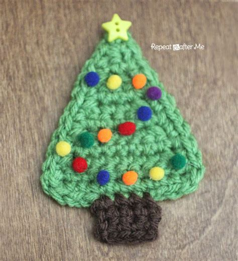 repeat crafter me crochet christmas tree applique