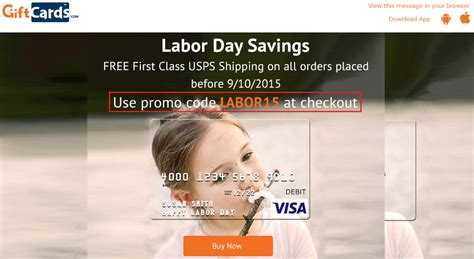 Gift Card And Promotional Codes - free shipping for visa gift cards on giftcards com promo code labor15
