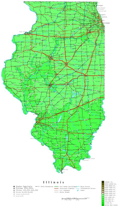 map of il illinois contour map