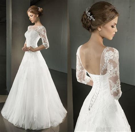 Brautkleid Corsage by 2016 A Line Wedding Dresses Half Sleeve Open Back