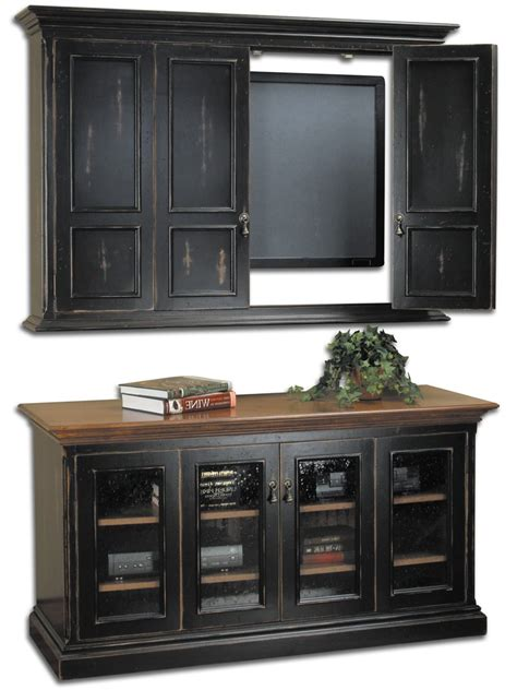 Wall Mounted Tv Cabinets For Flat Screens With Doors Hillsboro Flat Screen Tv Wall Cabinet Console Cottage Home 174