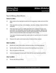 Lesson Plans For Writing Book Reviews by Writing A Book Review 1st 2nd Grade Worksheet Lesson Planet