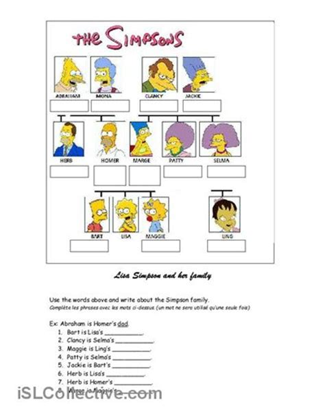Family Tree Worksheet by Simpsons Family Tree Worksheet Free Esl Printable