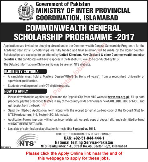 Scholarships For Mba Students In Pakistan by Commonwealth General Scholarship Program 2017 Nts