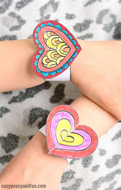 Heart Paper Bracelets For Kids Printable Template Easy Peasy And Fun Paper Bracelet Template