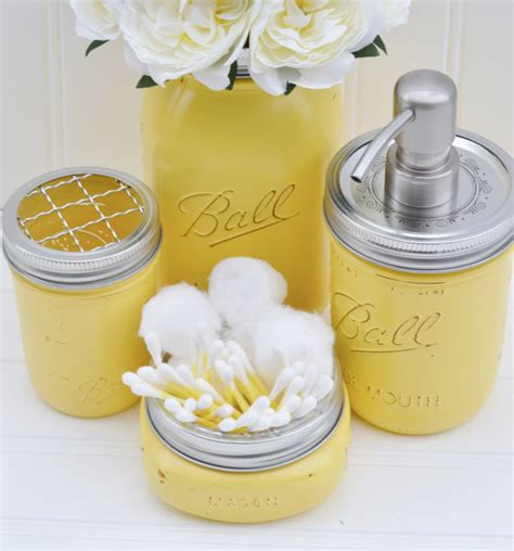 Yellow Bathroom Accessories Jar Bathroom Set Jar Soap Idealpin