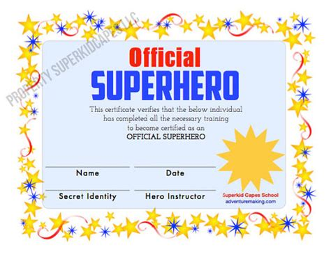 superhero certificate instant printable download and print