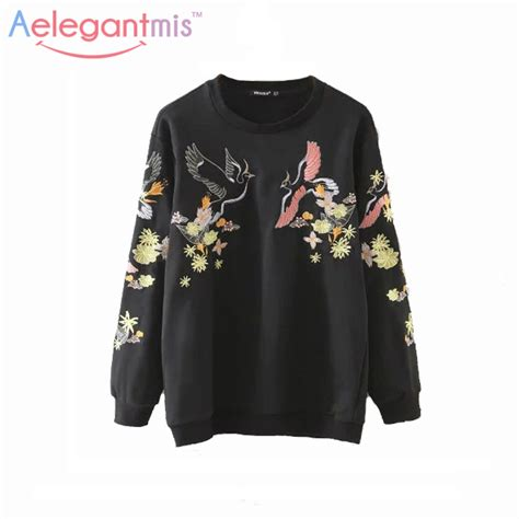 Sweater O Neck Black 1 2017 casual embroidery sweatshirts sleeve o neck black pullover