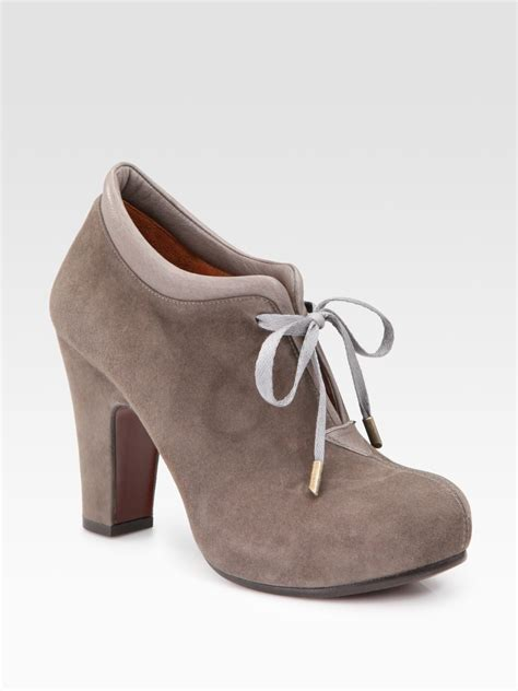 chie mihara olga suede lace up ankle boots in brown taupe