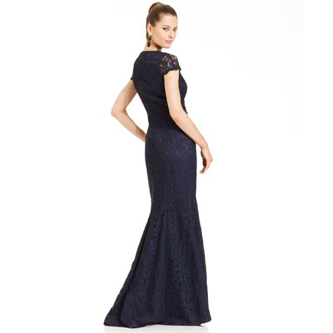 Js Blue js collections js boutique capsleeve lace mermaid gown in