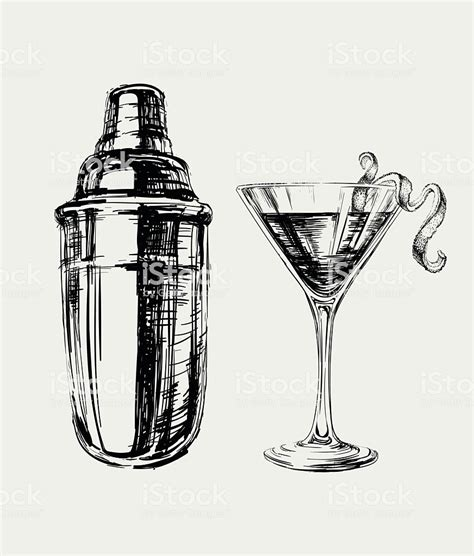 fashioned cocktail illustration sketch cosmopolitan cocktails and shaker vector