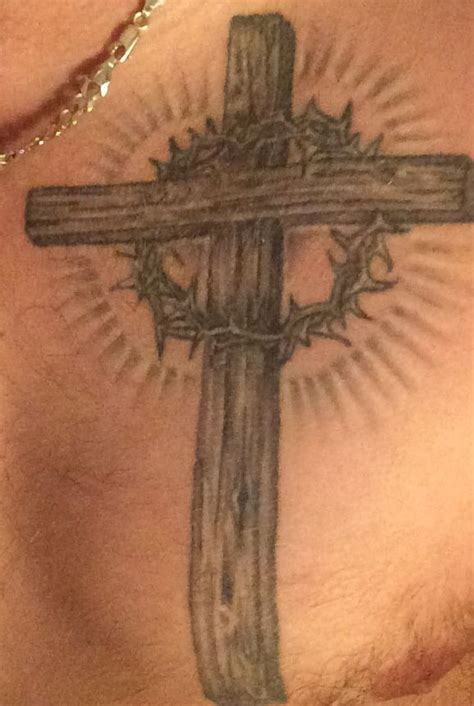 cross with crown of thorns random tattoos pinterest