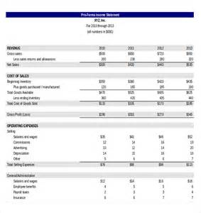 3 year income statement template doc 600600 proforma income statement template free