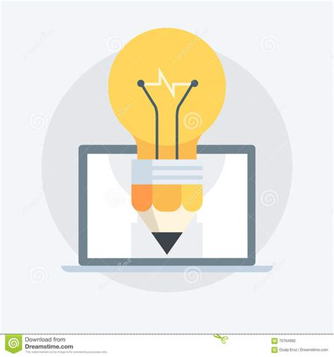 Light Bulb Pen light bulb pen flat style colorful icon stock