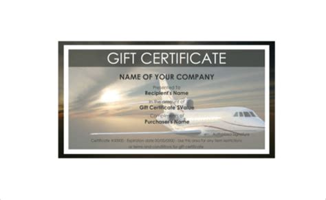 plane ticket gift card template travel gift certificate templates 9 free word pdf psd