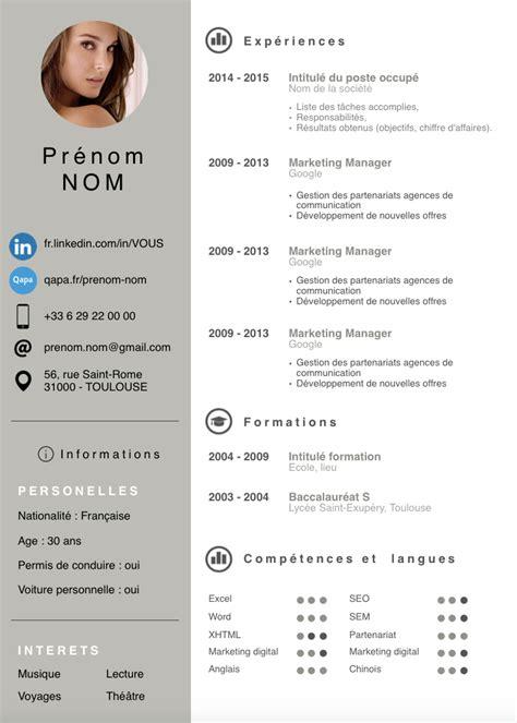 Exemples De Curriculum Vitae by Exemples De Cv Modernes Gratuits Nouveau