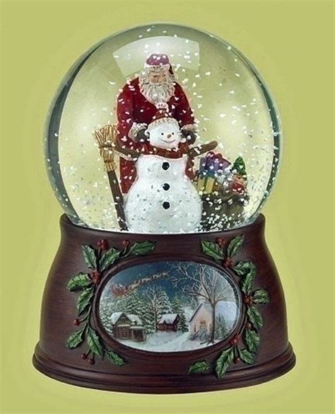 details about snow globes santa and snowman musical snow