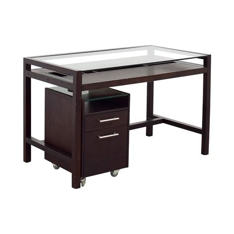 90% OFF   Glass Top Dark Brown Wood Desk with File Cabinet