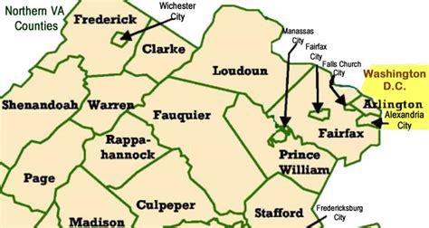 northern virginia map cities in northern va fairfax arlington