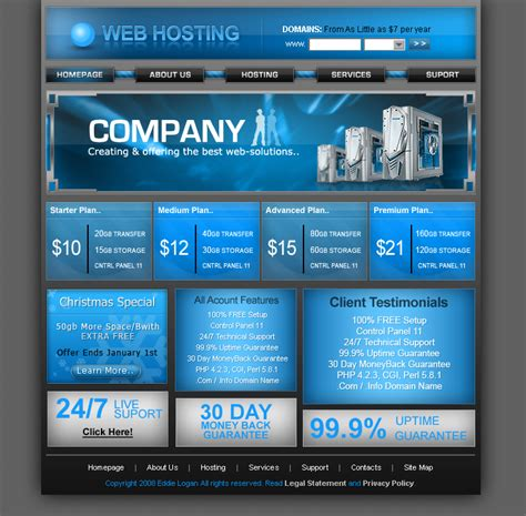 free hosting templates free php and hosting hosting template