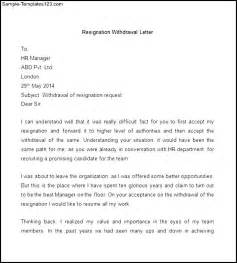 Withdrawal Letter Of Resignation Sle Resignation Withdrawal Letter Sle Templates