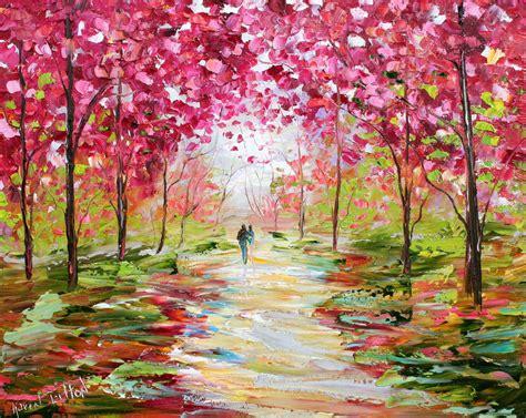 spring paint karen tarlton original oil painting spring romance impasto