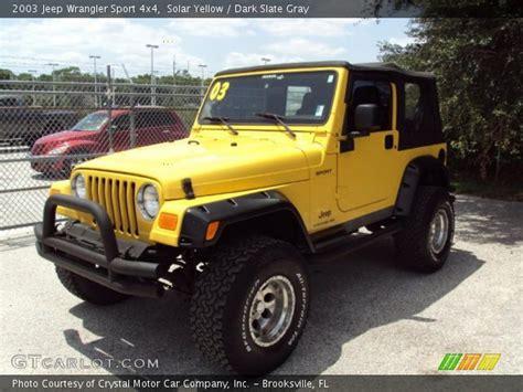 yellow jeep interior solar yellow 2003 jeep wrangler sport 4x4 slate