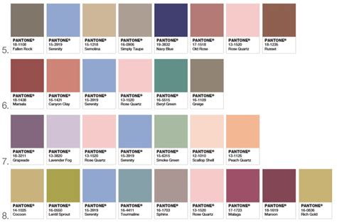 pantone color palette pantone releases its 2016 palette color of the year web design ledger